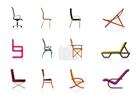 Illustration for Office, interior, plastic and luxury chairs - vector illustration - Royalty Free Image
