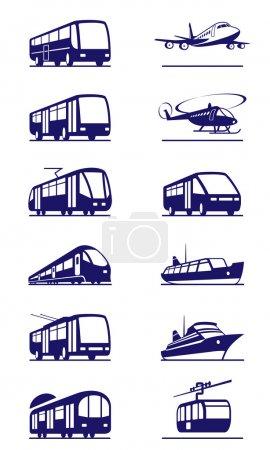 Illustration for Public transportation icon set - vector illustration - Royalty Free Image