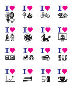 Funny love icon set
