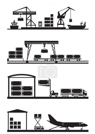 Cargo terminals icon set