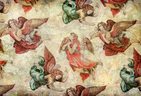 Angels on grunge background
