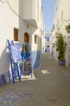 Medina of Asilah, Morocco. The houses are white, d...