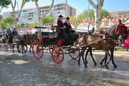 Horse cars at the fair in Seville