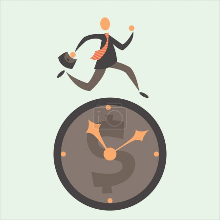 Illustration for The businessman tries to overtake time because time is money - Royalty Free Image