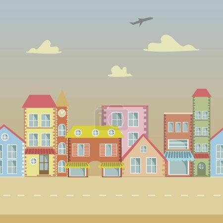 Seamless Vector cartoon town