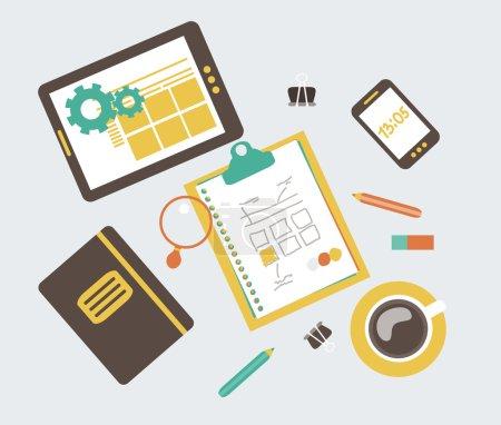 Flat modern illustration, web design development workflow