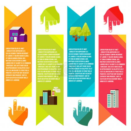 Illustration for Banners with city, City of info graphics. Flat vector style - Royalty Free Image