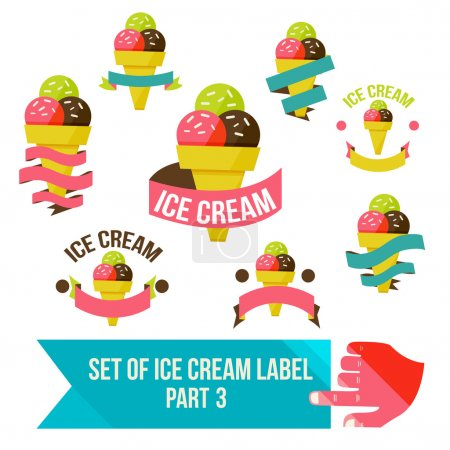 Set of  ice cream shop badges and labels