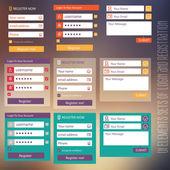 User interface elements sets of login and registration form flat