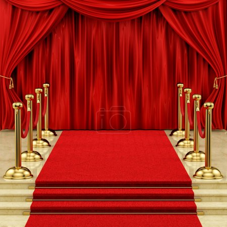 Photo for Render of gold stanchions and a red carpet - Royalty Free Image