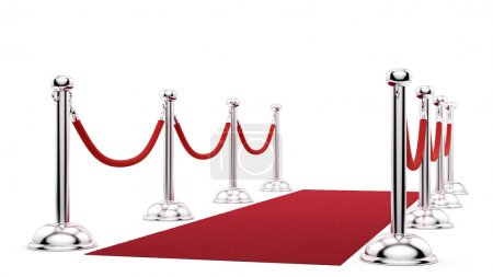 Photo for Render of silver stanchions and a red carpet - Royalty Free Image