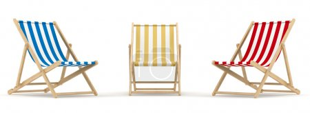 Render of 3 deck chairs in different color and pos...