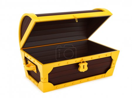 Photo for Render of a treasure chest, isolated on white - Royalty Free Image