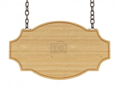 Photo for Render of a wood sign, isolated on white - Royalty Free Image