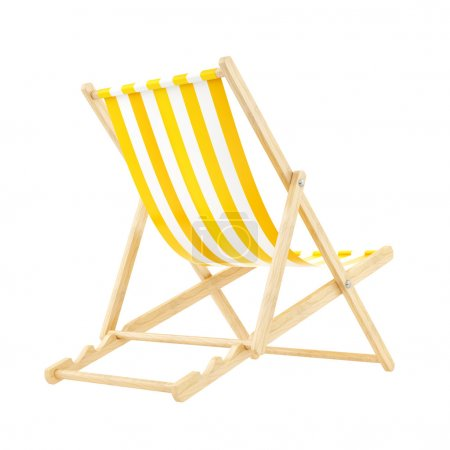 Render of a yellow deck chair, isolated on white...