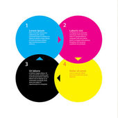 CMYK color template Four choices steps with space for text Cl