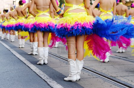Photo for Pretty drum majorettes on the carnival, detail - Royalty Free Image