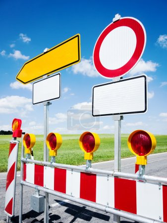 Photo for Road signs at a diversion near berlin - germany - Royalty Free Image