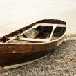 Old rowboat at a beach...