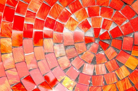Photo for Red mosaic tiles at an old building - Royalty Free Image