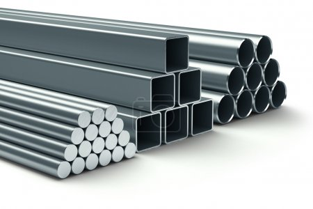 Stainless steel. Group of rolled metal.