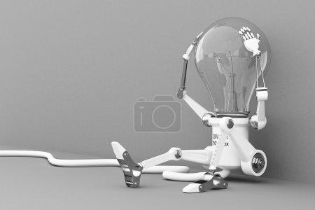 Robot lamp pokes the power