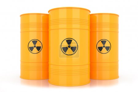 Yellow barrels with radioactive waste