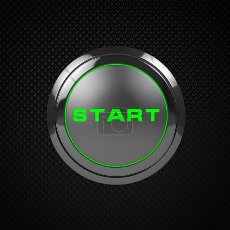 Photo for Green LED start button on black background. - Royalty Free Image