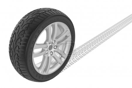Photo for Car winter wheel. Track on ground. Isolated on white background - Royalty Free Image