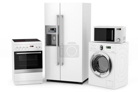 Photo pour Groupe d'appareils ménagers sur fond blanc - image libre de droit