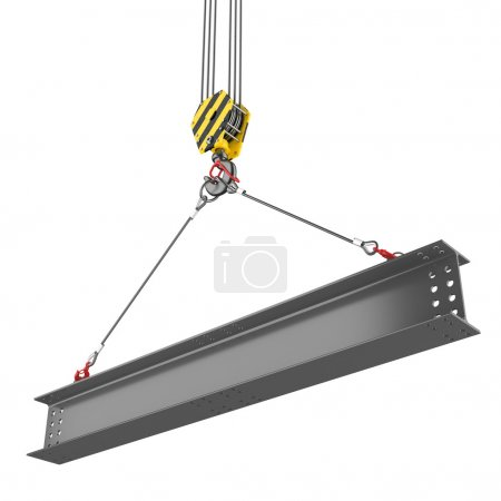 Photo for Crane hook lifting of steel beam - Royalty Free Image