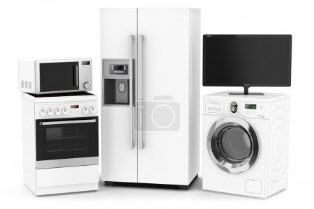Photo for Set of household technics isolated on white background - Royalty Free Image