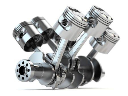Photo pour Vilebrequin moteur V6 isolé sur fond blanc - image libre de droit