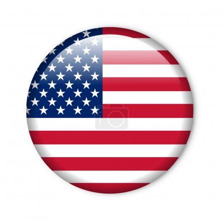 United States - glossy button with flag