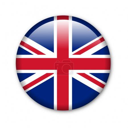Photo pour Bouton brillant dans les couleurs nationales du Royaume-Uni - image libre de droit