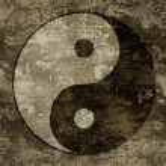 The symbols of yin and yang on grange background t...
