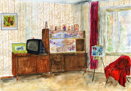 Typical interior Soviet apartment. Watercolor.