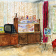 Typical interior of a room in a Soviet apartment. Watercolor painting.