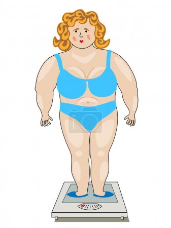 Illustration for A fat woman standing on the scales. The illustration on a white background. - Royalty Free Image