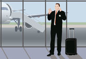 Success busy smiling businessman uses his time while waiting between flightshe stays in the airport and shows sign ok with his hand and holds smartphone with the other hand he has name badge so he is going to the conferece vector