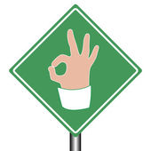 Road help sign ok as hand gesture of business lady