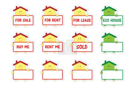 Set of houses with banner as stickers