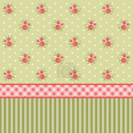 Illustration for Vintage floral pattern set with roses in shabby chic style as wallpaper - Royalty Free Image
