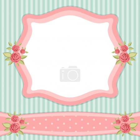 Illustration for Vintage floral frame with roses in shabby chic style - Royalty Free Image