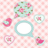 Retro fabric applique of bird with speech bubble in shabby chic style