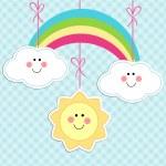 Cute baby background as cartoon characters sun, ra...