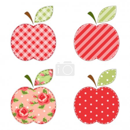 Apples fabric retro applique