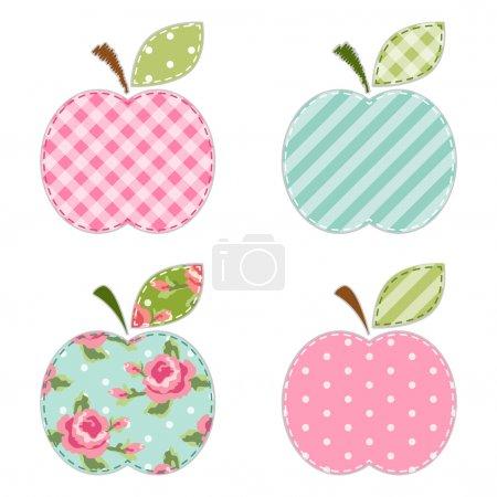 Illustration pour Application rétro en tissu de pommes mignonnes avec feuille verte pour la réservation de ferraille ou cartes d'invitation ou décoration de fête - image libre de droit