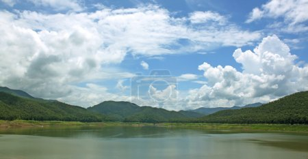 Natural forest landscape mountains sky water cloud...