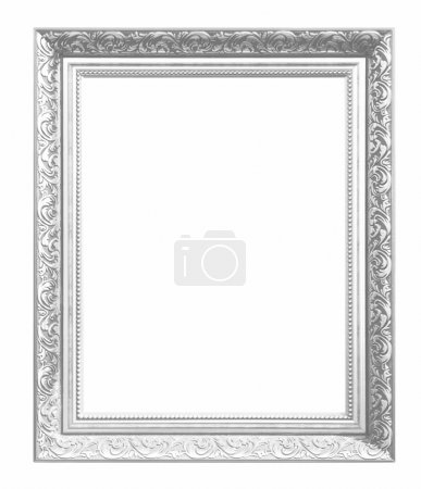 Photo for Silver picture  frame isolated on white background. - Royalty Free Image